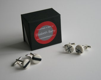 Porcelain cufflinks with monochrome detail on silver plated backs