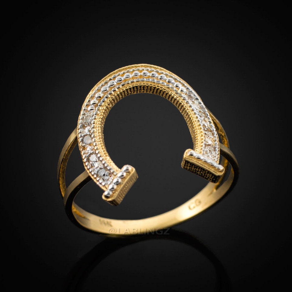gold lucky horseshoe pave ring
