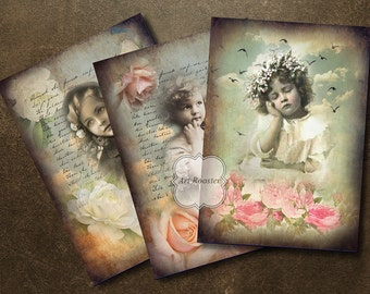 Printable Gift Tags Digital Images Digital Download Greeting Cards ACEO Digital Collage Sheets Vintage Cards LITTLE GIRLS Printable Images