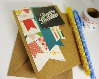 Birthday Card - Happy Birthday Card - Colorful Birthday Card - Birthday Banner Card - Birthday Greetings - Retro Birthday