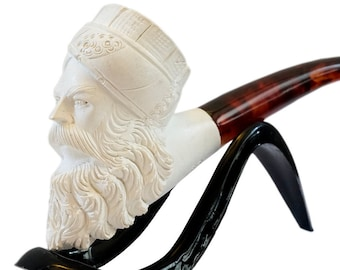 New Antique Hand Carved Meerschaum Pipe Ottoman Sultan Abdulmecid II Head With Case Set Gift