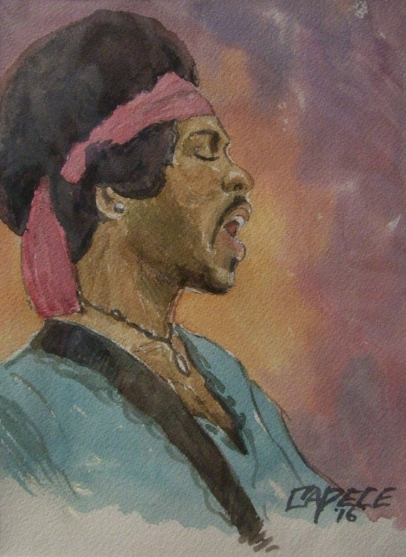 Hendrix Lives On,11x14 Watercolor,White Mat,ONE OF A KIND,Not a Print,Free Shipping Code SKYE2