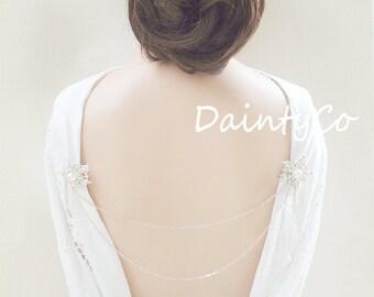 Silver Pearl Back Necklace backless dress low open back dress v back bridal backdrop back drop pin brooch