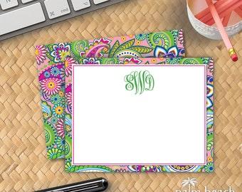 Hibiscus Paisley Flat Notecards - Paisley Personalized Stationery - Monogrammed Correspondence Card - Custom Boho Stationary Set