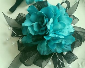 Prom Wrist Corsage and Matching Boutonniere  Turquoise & Black  Ready To Ship