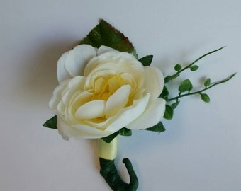 Ivory and Yellow Boutonnieres  Wedding Boutonnieres Set of 12 JUNE SALE