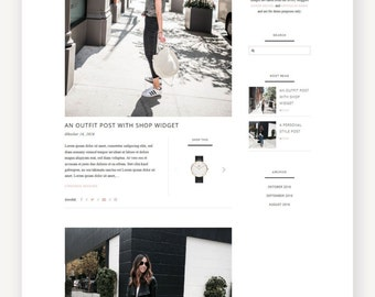"WordPress Theme for Fashion Bloggers / ""Front Row"" Responsive WordPress Website / Self Hosted WordPress Blog / Clean Feminine Style Blog"