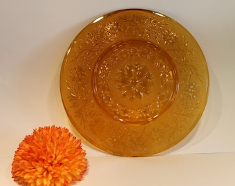 Anchor Hocking - Desert Gold - Amber Glass - Sandwich Pattern - Plate - Platter - Fire King