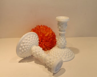 Vintage - Milk Glass - Fenton Glass - Hobnail - Candle Sticks - Set of 2