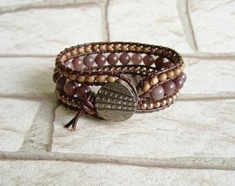Western Bracelet Bohemian Jewelry Brown Beaded Bracelet Brown Wrap Bracelet Boho Jewelry Leather Jewelry Rustic Hippie Jewelry Mothers Day
