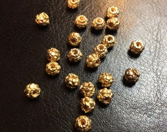 Gold Vermeil Bumpy Bead, 8x7mm round, 22 pieces