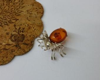 Brooch spider Art Deco silver amber old SB124