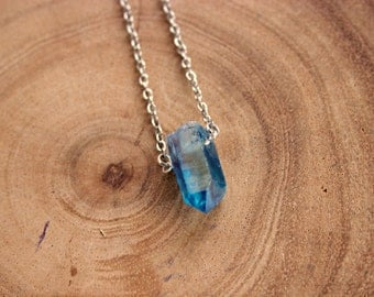Blue Sapphire  Crystal  Necklace With Sterling Silver Chain