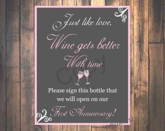 Bridal Shower Sign, Bridal shower decorations,guest book,Wedding,Bridal shower favors, First anniversary, wine bottle, 8x10 Instant download