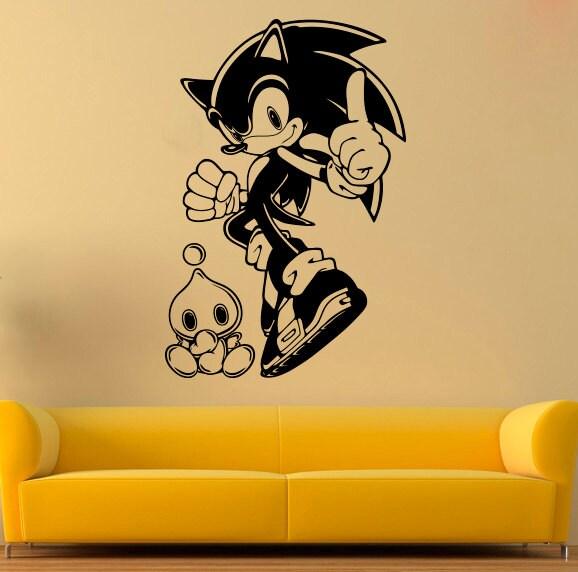 Sonic wall sticker sonic hedgehog vinyl decal cartoons decals - Sonic wall decals ...