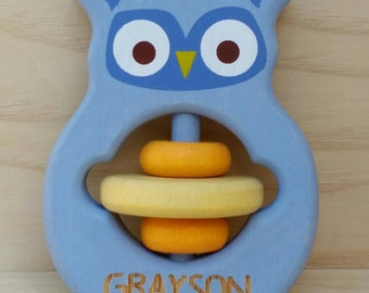 Wooden personalised baby rattle owl baby boy baby girl