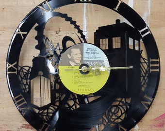 Doctor Who Tardis on Time  Vinyl Record Clock