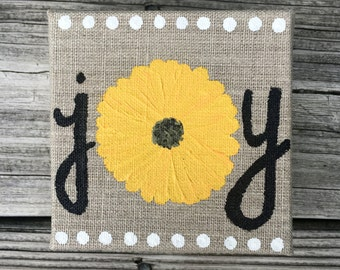 "4x4"" hand-painted burlap ""joy"" block canvas with sunflower"