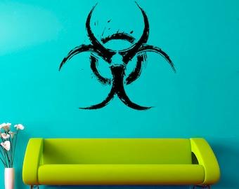 Biohazard Sign Wall Decal Biohazard Symbol Wall Vinyl Sticker Vinyl Decor Home Art Decor (2bd)