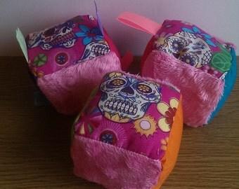 Pink Sugar Skull Baby Sensory Soft Cube Blocks (Ready to Ship)