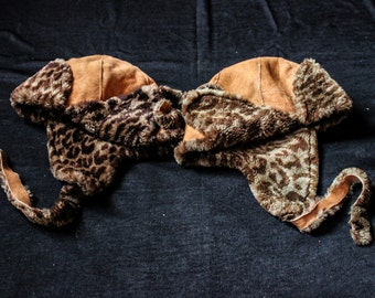 SALE !!!!!!WINTER COLLECTION - Leather Chapka - Synthetic Fur Leopard Print - Boho - Ethnic - Unique - Handmade - Travel -