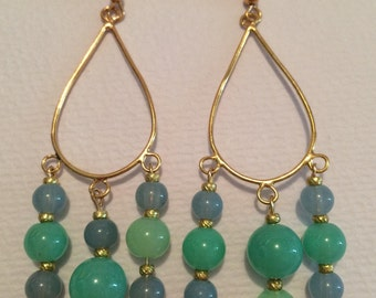 Green, Blue and Gold Chandelier Earrings