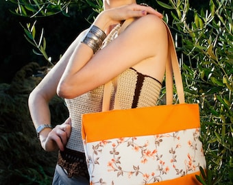 -Tone floral fabric bag with handles at shoulder