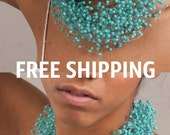 ON SALE free shipping Free Shipping/Turquoise Necklace/Air necklace/Crochet Multistrand Necklace/Airy necklace/Every day/Turquoise floral ne