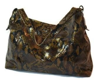 Nordstrom, Italian Leather, Snake Skin, Designer Handbags, Brown Black