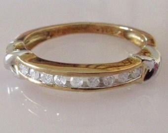 Gold Diamond Channel Ring UK Size O USA 7