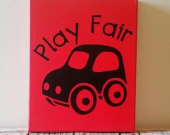 Play Fair Playroom Canvas, Toy Car, Boys Room