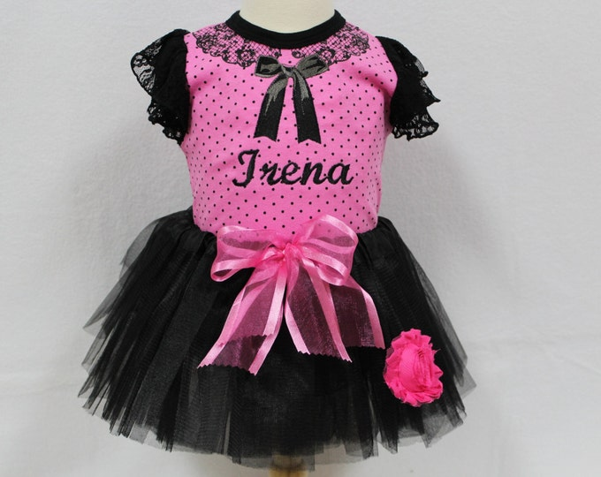 Baby Girl Take Me Home outfit, Baby girl Hot Pink bodysuit, Baby girl Black tutu outfit, Baby Coming home outfit, Baby New Year Outfit
