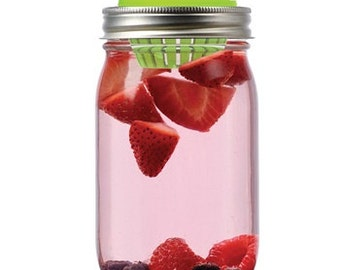 Fruit Infusion Lid for Regular Mouth Mason Jars | Turn Mason jar into fruit infused water bottle | Drinking Lid | Infuser