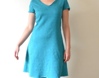 turquoise dress flared short-sleeved, dress jersey dress curved, short dress, made in France, made in Paris, size 38 - S