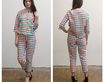 Vintage Rainbow Checked High Waisted Pant Suit Set 60s 1960s Tapered Trouser & Boxy Cropped Jacket w/ Fringe Set XS / S Mod Women's Suit
