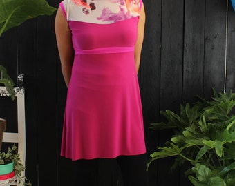 Robe femme - jersey - broderie - impression - robe framboise - dos transparent - rasberry dress  - tenue pour mariage - 30%
