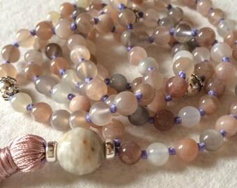 Moonstone Mala Necklace, 108 Mala Beads, Meditation Beads, Yoga Jewelry, Buddhist Mala Necklace, Prayer Bead, Tibetan Mala, Japa Mala