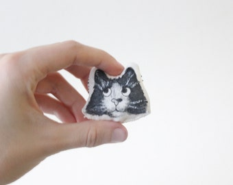 Miniature Cat Portrait Pillow, Tiny Tuxedo Cat Figurine, Black and White Cat Acrylic Painting, Small Stuffed Animal Cat, Cat Lover Gift