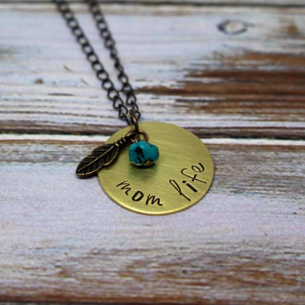 Hand stamped necklace with meaning mom life stamped jewelry for How do you make hand stamped jewelry