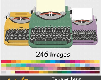 Typewriter Clipart- Rainbow Type Writer Clip Art for Planner Stickers- Digital Vintage Retro Typewriter Images- Printable Instant Download