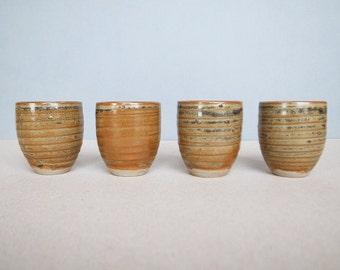 Set of 4 Japanese Vintage Signed Pottery Sake Cup / Guinomi ぐい呑み Modernist Simplicity