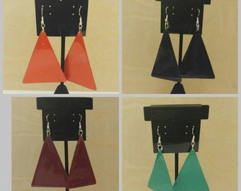 Simple, Triangle Shaped Earrings, Solid Color, Dangle Earrings, Hanging Earrings, Handmade Earrings, Handpainted Earrings