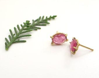 Dainty gold earrings, ruby earrings, July birthstone, real gold studs, ruby jewelry.