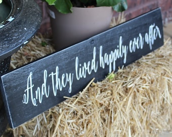 And They Lived Happily Ever After Wood Sign - Happily Ever After Wooden Sign - Bridal Shower Decor - Wedding Decoration - Hand Painted