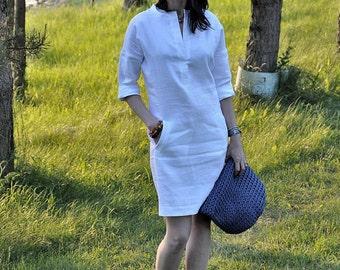 linen shirt dress, linen tunic dress, white linen dress, linen dress, tunic dress, dress with pockets, leinen, loose linen tunic, long tunic