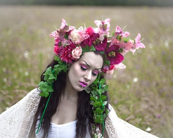 Ethereal pink butterfly floral headdress with falling ivy