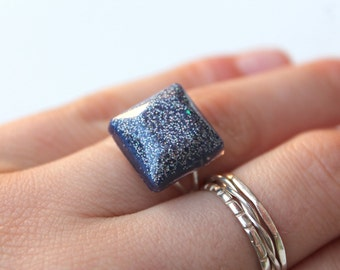 Glitter Ring - Square Ring - Resin Ring - Statement Ring - Adjustable Ring - Purple Ring - Resin Jewellery