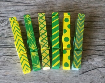 Green and Yellow Hand Painted Clothes Pins