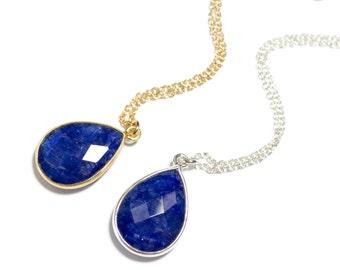 Sapphire Necklace, Sapphire Pendant Necklace, Blue Gemstone Necklace, September Birthstone, Gold Sapphire Blue Necklace, Sterling Silver