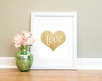 Love Heart Print, Printable Wall Art, Gold Glitter Heart Print, 8x10, Instant Download, Nursery Print, Love Printable, Printable Wall Decor